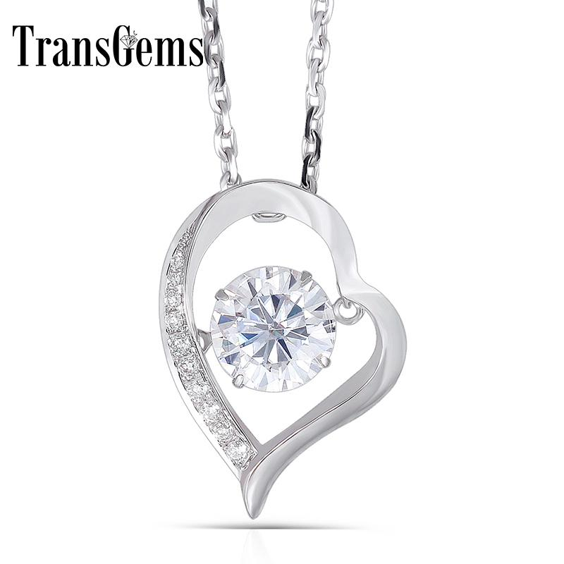 Transgems Moissanite Heart Shaped Pendant Solid 14k White Gold Center 1ct 6.5mm F Color Moissanite Floating Setting Pendant Gold Y19032201