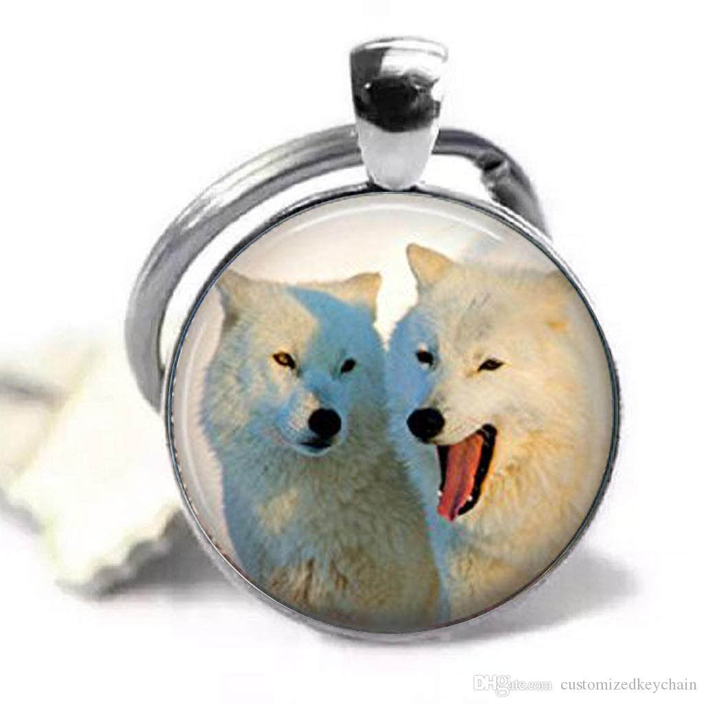 Keychains,Keychains Accessories Wolf Mens Keyrings,Two beautiful Wolf,Women Or Men,Silver Keychain,Glass Cabochon Keychain