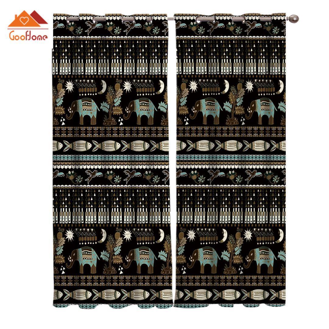 Ethnische Muster Elefant Geometric Prüffenster Vorhänge Wohnzimmer im Freien Stoff drapiert Vorhang Wohnkultur