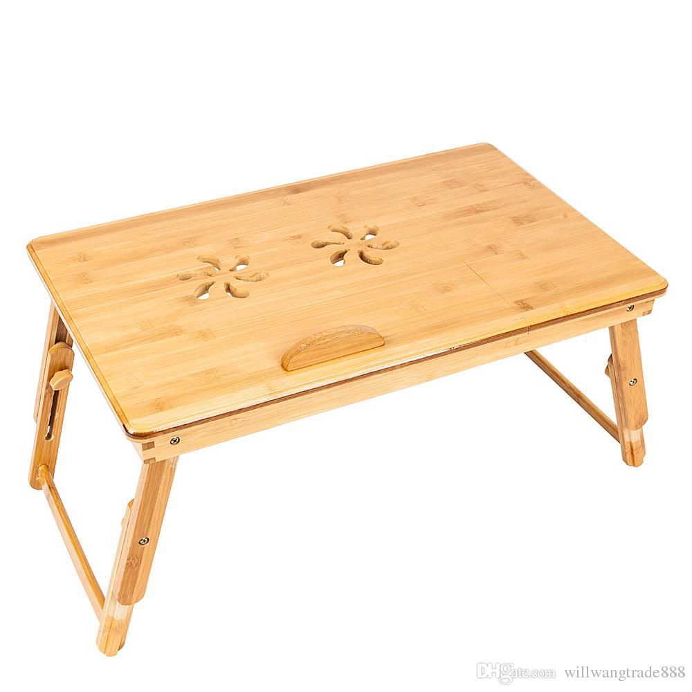 Padrão 53 centímetros na moda Duplo dobrável Flores gravura ajustável Bamboo Computer Desk cor de madeira