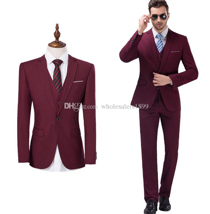 High Quality one Button Wine Groom Tuxedos Notch Lapel Groomsmen Men Wedding Suits Bridegroom (Jacket+Pants+Vest+Tie) NO:35
