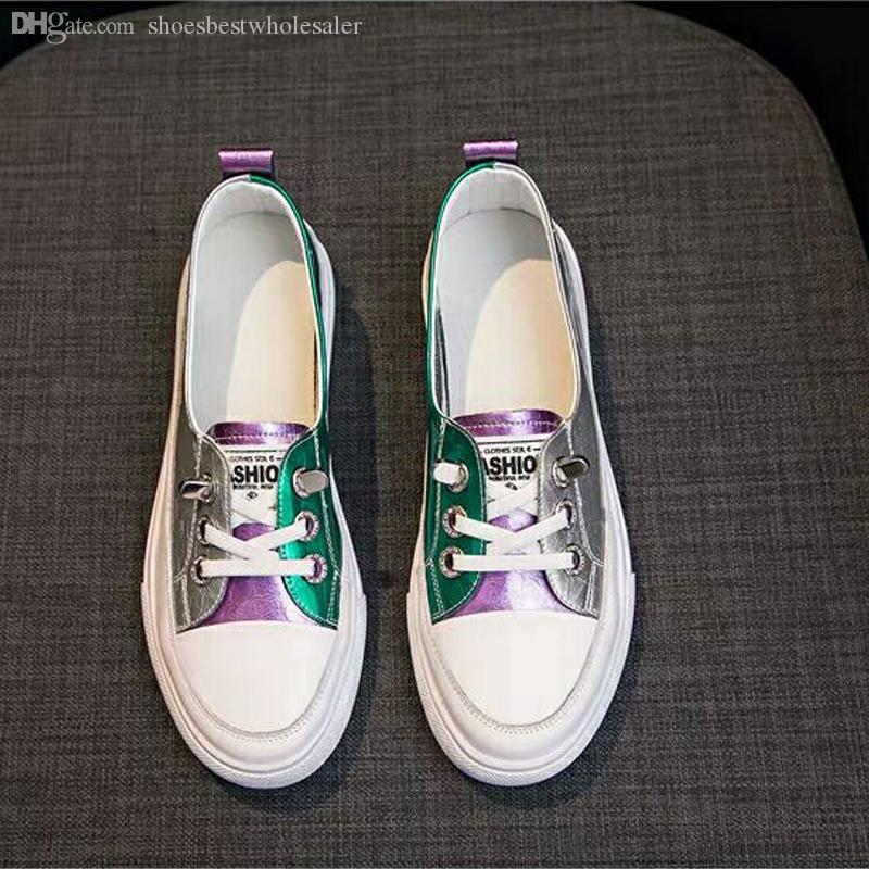 Плоская Повседневной обувь Женщина мода кожа Красочные Открытые Походные ботинки Нежная дикая корейская обувь