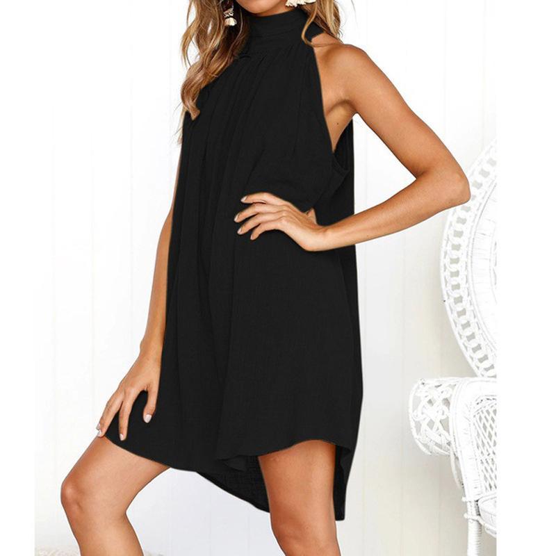 Мода женщин Дизайнерские платья 2020 нового прибытия сплошного цвета без рукавов платья высокого качества женщин платье 7 цветов Размер S-3XL PH-YF203053