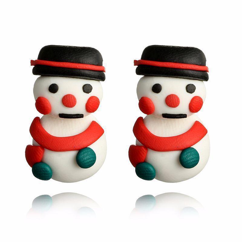 Aretes de muñeco de nieve Navidad Hecho a Mano-Rojo Bufanda