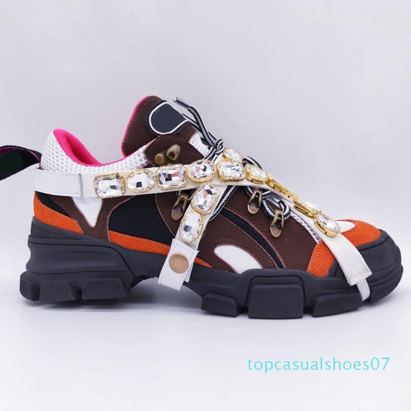 Os mais recentes FlashTrek sapatilha com cristais removíveis Mens Designer de Luxo Casual Luxury Designer forma das mulheres calçam as sapatilhas 35-45 T07