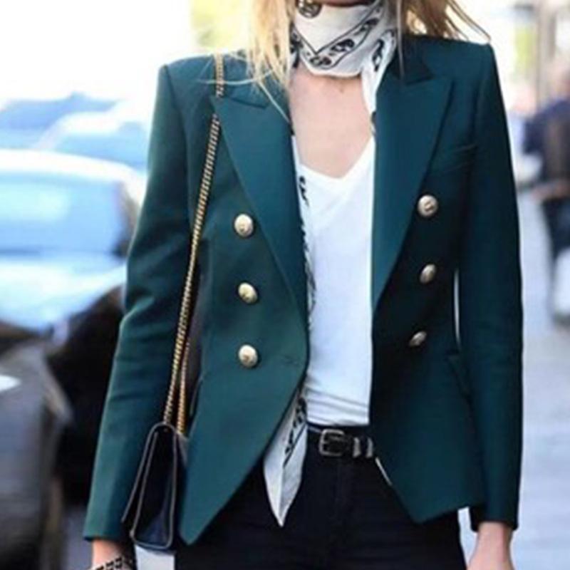 금속 라이온 버튼 여성 블레 이저 패션 더블 브레스트 여성 짧은 슬림 맞는 솔리드 블레 이저 자켓 사무실 데일리 코트 XS-2XL
