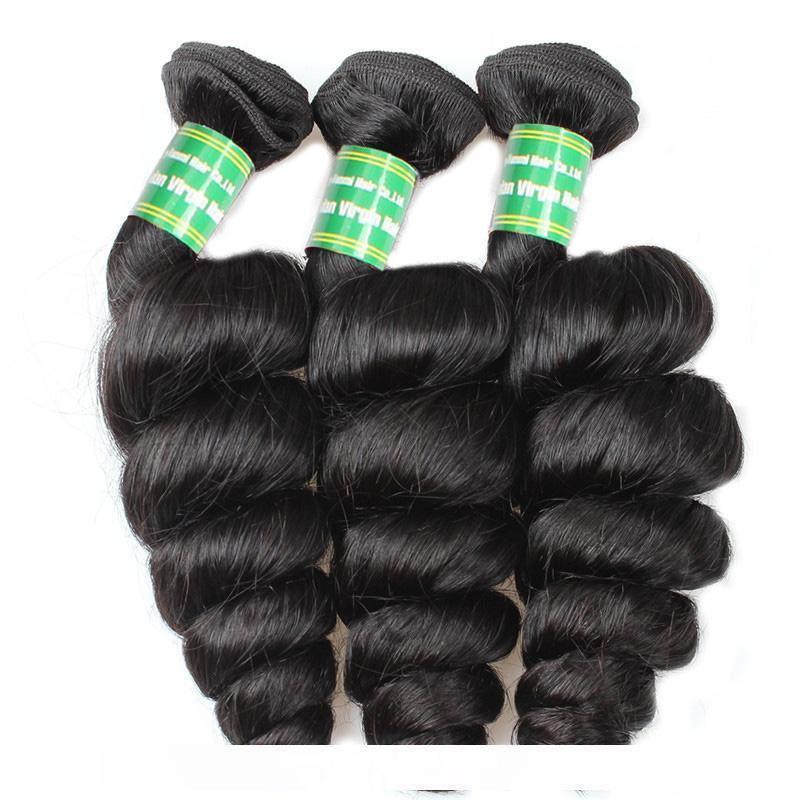 8A Virgin cabelo solto Brasileira de onda Pacotes com frontal molhado e ondulado Extensões de cabelo humano da orelha à orelha Lace frontal Encerramento e 3Bundles