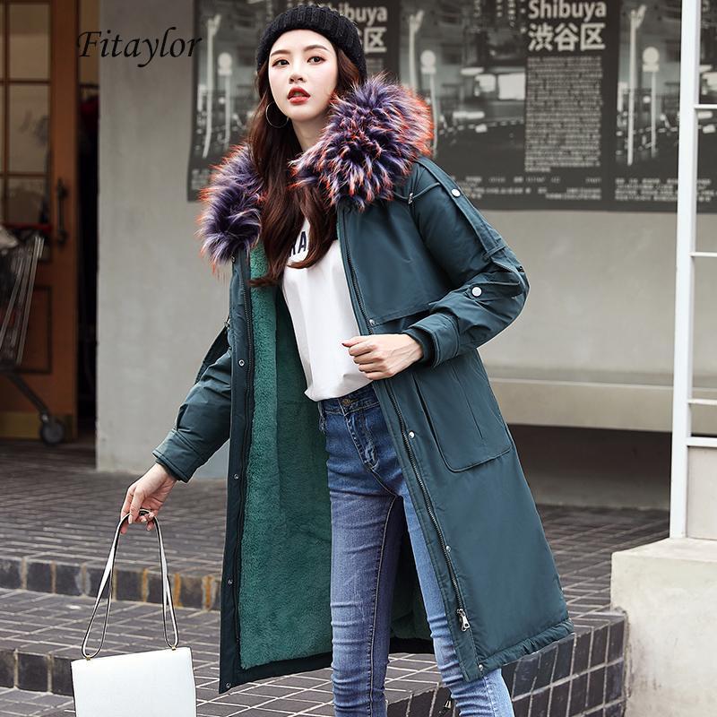 Fitaylor invierno grande cuello de la piel de algodón acolchada chaqueta larga de las mujeres caliente grueso de imitación de corderos de lana de algodón Parka Banda Implique prendas de vestir exteriores T191108