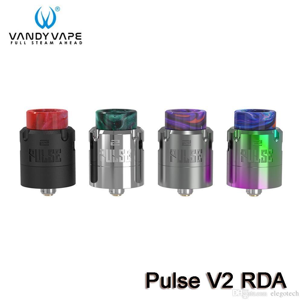 Vandy Vape Pulse V2 RDA Atomizador Compatibilidad con bobinas dobles individuales Montaje superior Squonk Alimentación PEI Anillo de flujo de aire + 2 anillos 100% auténtico VandyVape