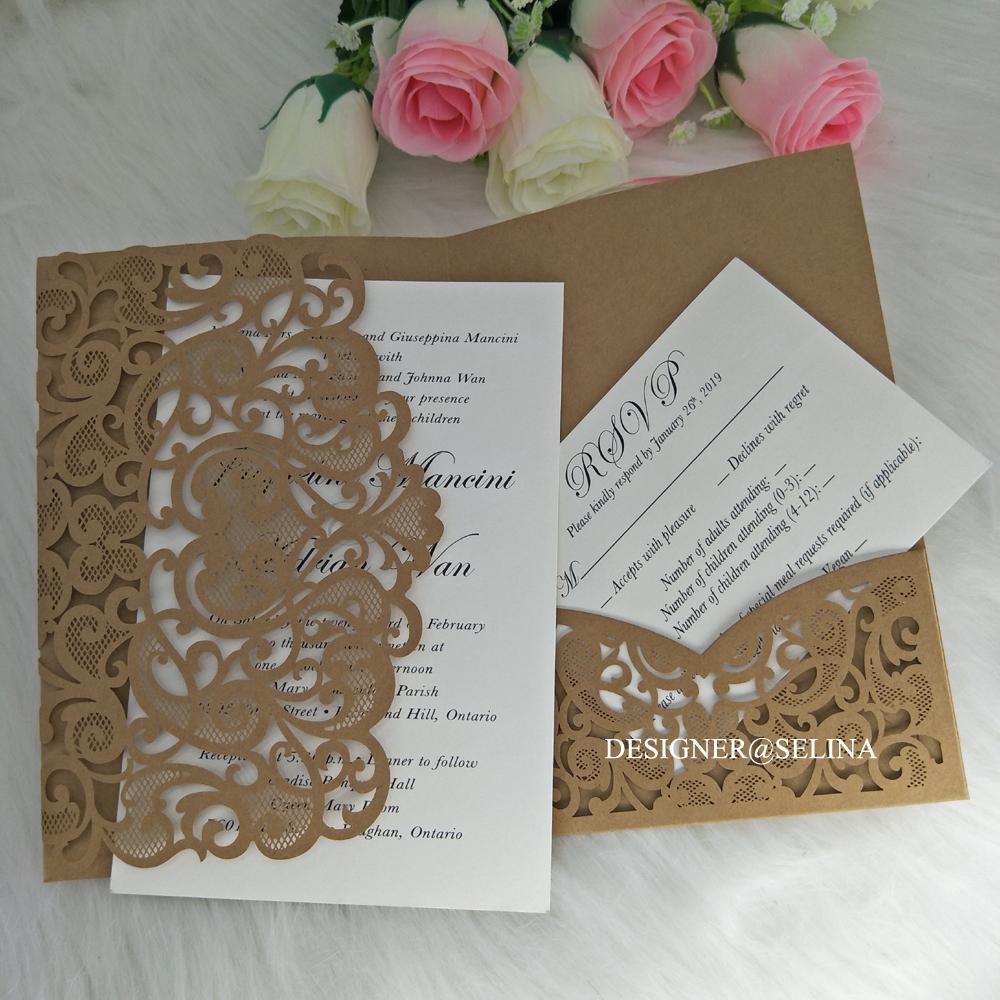 convite bolso convites de casamento querida trifold corte a laser rústico para o chuveiro nupcial papel kraft engagment convida com cartão de RSVP