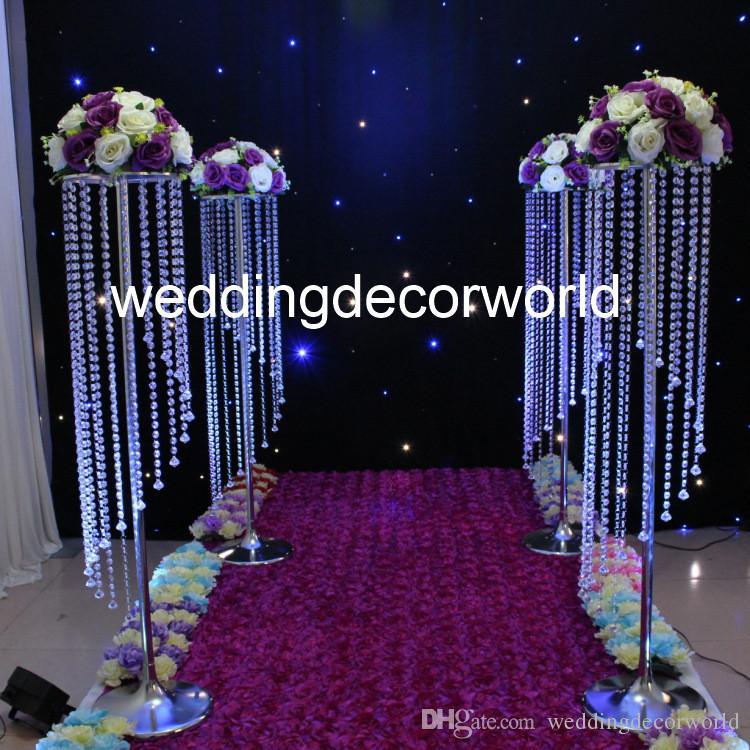 120 cm Düğün Kristal Merkezinde Geçit Koridor Dekorasyon Akrilik Çiçek Uzun Boylu Masa Avize decor463 Standı