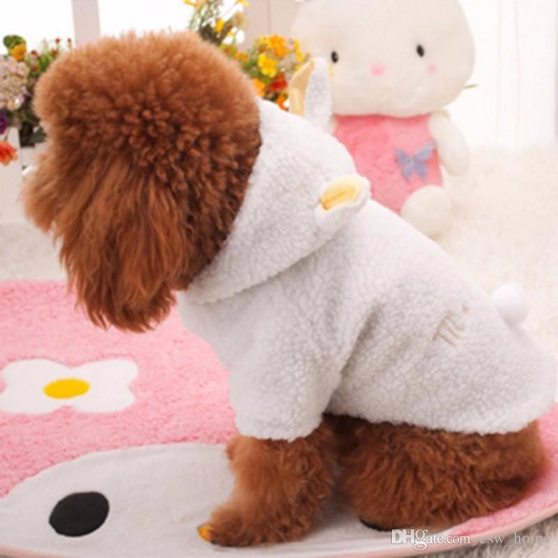 Белая овца балахон собака одежда симпатичные осень зима теплая хлопок пальто Pet щенок одежда для собак