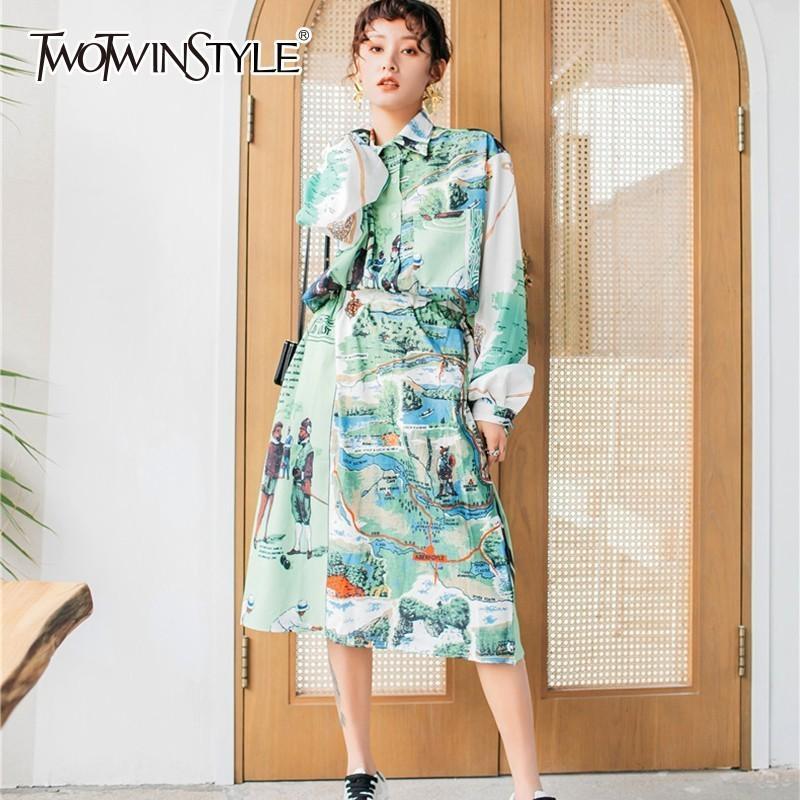 Toptan Baskı Iki Parçalı Setleri Kadın Fener Uzun Kollu Gömlek Bluz Yüksek Bel Midi Etekler Bayan Takım Elbise 2019 Bahar Moda