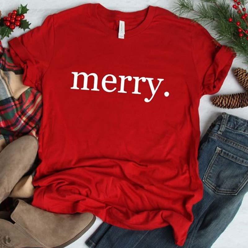 Merry Christmas Baskı Estetik Tişörtlü Kadınlar Kısa Kollu Steetwear Tişört Şükran Pembe Noel Gömlek Nedensel Kırmızı Y200412 Tops