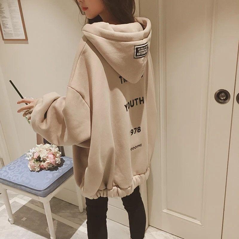 Inverno New coreano Hip Hop solto Oversized Hoodies Mulheres Casual bolha moletom com capuz Brasão Sleeve Zipper Tops Kpop Streetwear