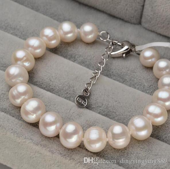 bracelet 416 +++Natural freshwater pearl bracelet 9-10mm, strong light, round white belt, extended tail chain