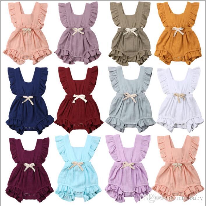 Baby Girl Clothes Infant Ruffle Pagliaccetti Toddle Estate Tute solide Ins neonato moda Boutique Onesies cotone Climb Body B4725