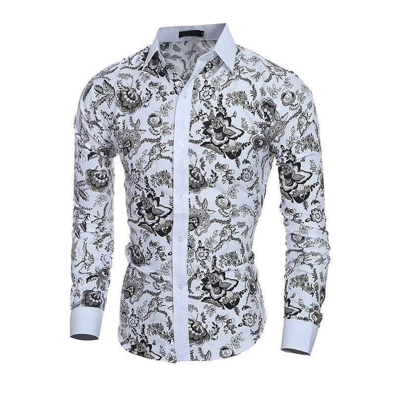 Men Casual Langarm Reverskragen dünne Oberseiten Spring Fashion Einreiher Formal Geschäfts Printed Hemd