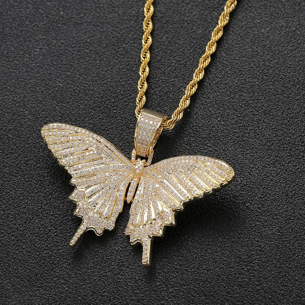 Iced Out Animal Butterfly Pendant Necklace With Rope Chain Gold Silver Cubic Zircon Men Women Hip hop Rock Jewelry