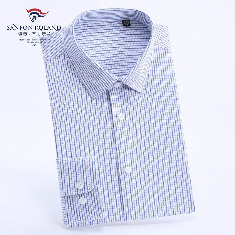 ملابس أعلى نوعية الرجال الدرجة العليا القطن الخالص موانئ دبي جاهزة للارتداء قميص رجالي كم طويل تريم الأعمال الصلبة لون اللباس الرسمي قمصان M9