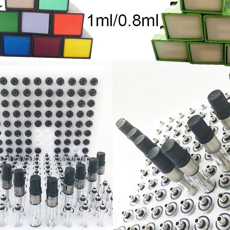 Caixa Verde preto vazio Vape cartucho da embalagem 0,8 mL de 1 ml Cerâmica Atomizador grossas Oil Dab Pen Wax vaporizador Cigarros 510 Tópico