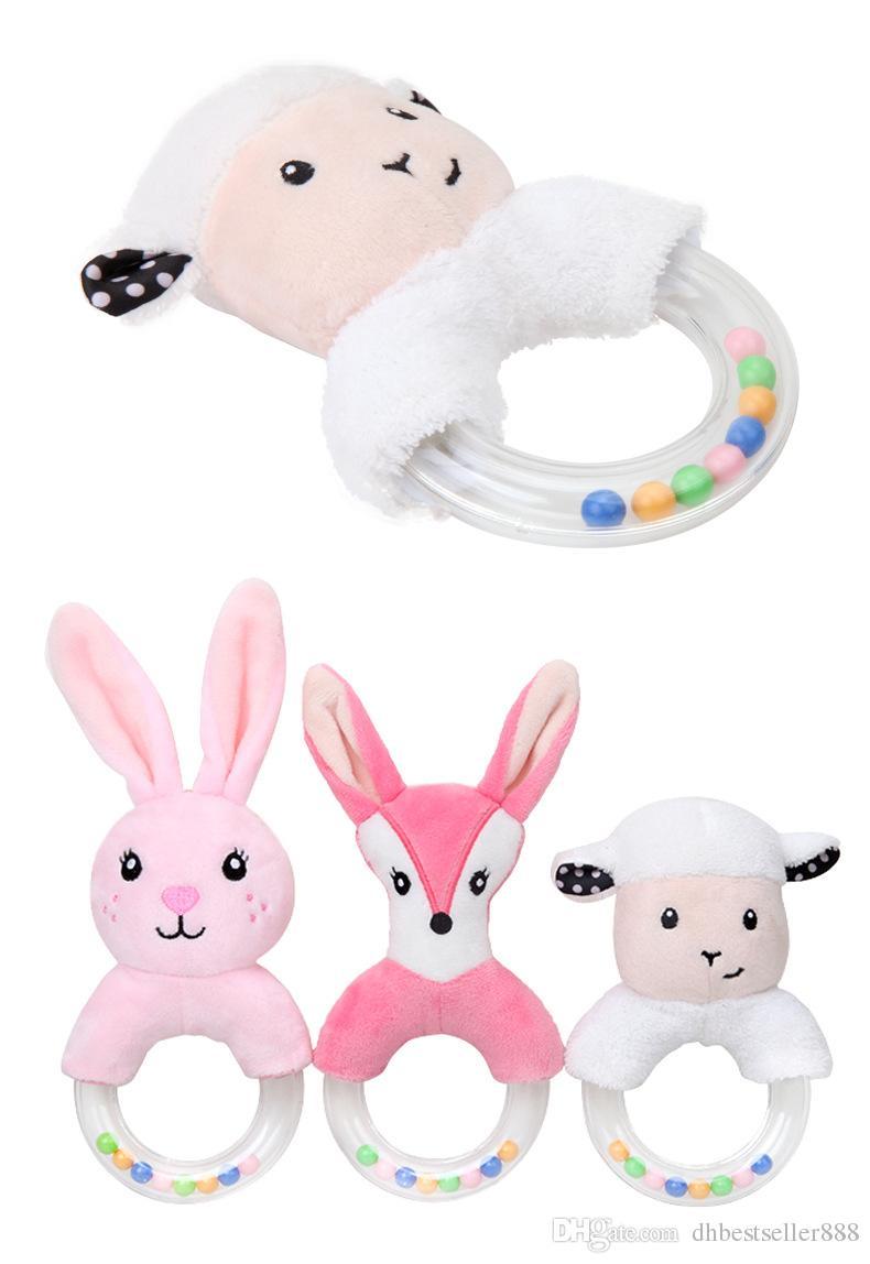 لطيف الأرنب القطيفة ألعاب للأطفال حيوانات محشوة الطفل لينة راتل ألعاب تعليمية أرنب دمية الوليد الرضع لعب أطفال هدية الساخن