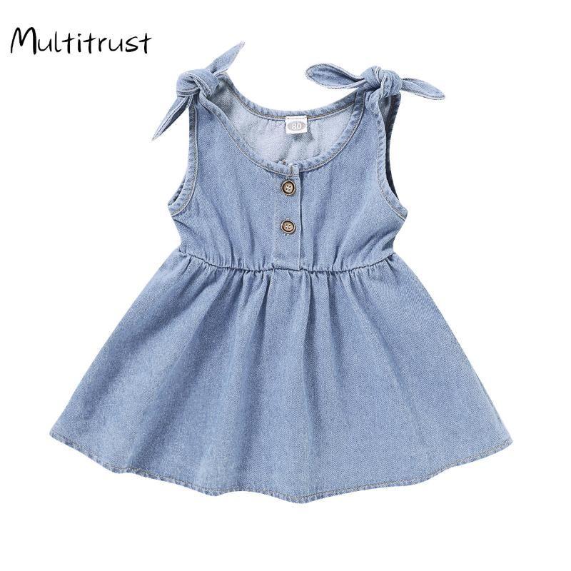 2020 Cute Kid Girls Sleeveless Buttons Dress Summer Solid Color Sling Dress for Kids Baby Girls