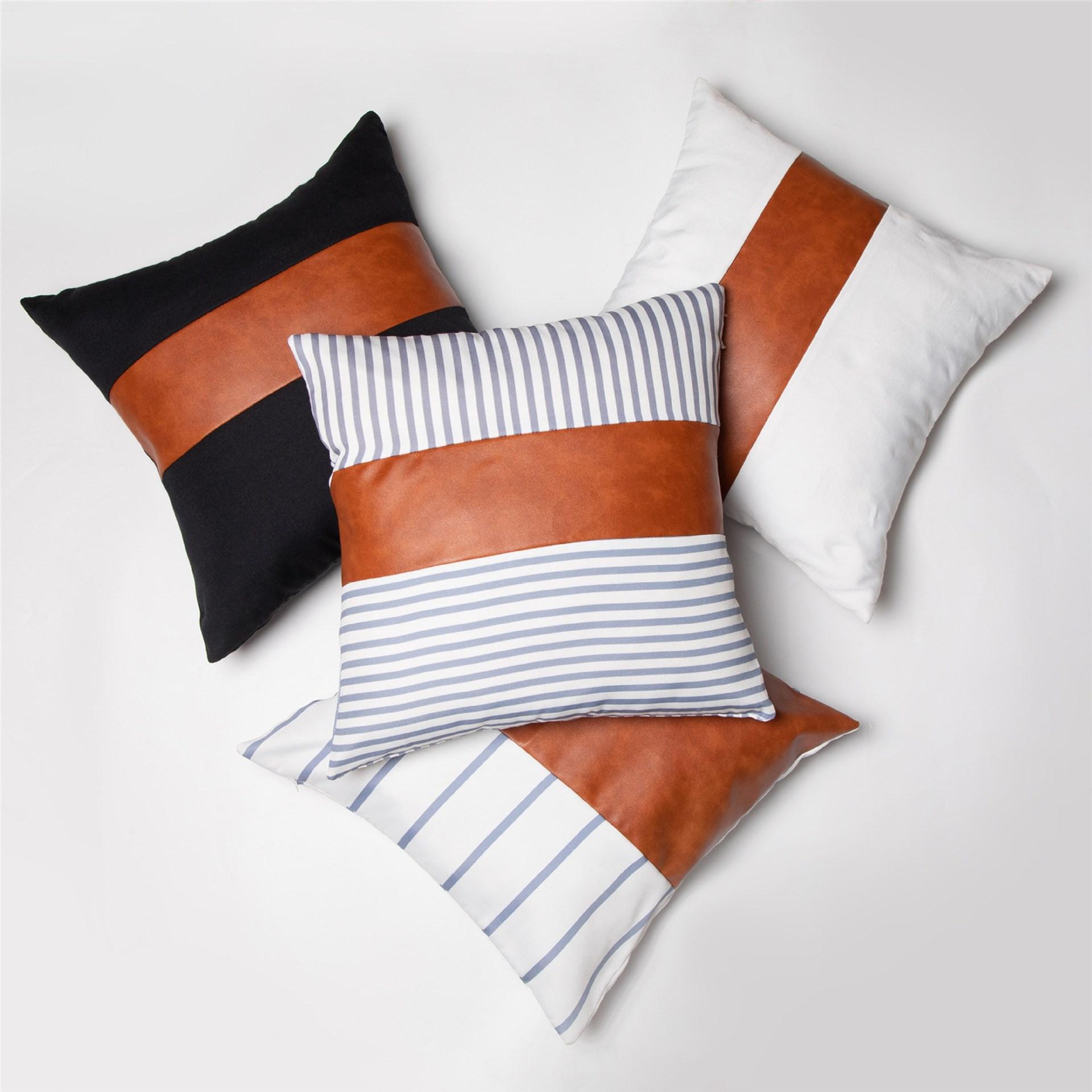 Mode-Streifen PU-Kissenbezug 18x18Inch aus weichem Leder Canvas Patchwork Pillowcase Sofa Kissenbezug Startseite Dekorative Kissenbezug DBC VT0890