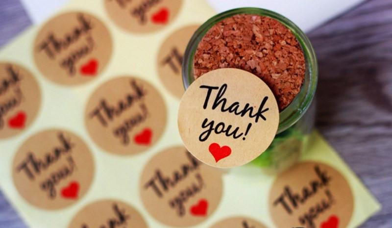 240PCS Thank You Kraft Gift Tags Stickers Wedding Favors Party Accessories Christmas DIY Biscuit Gifts Decoration