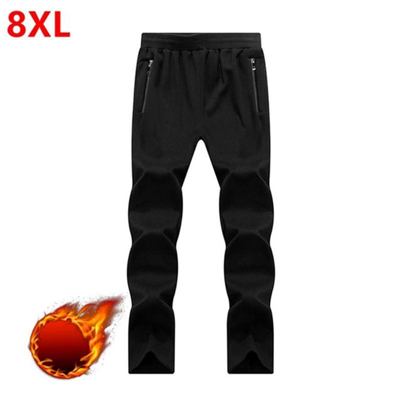 Pantalons de survêtement d'hiver pour hommes de grande taille, grands hommes, plus velours épais Pantalon long chaud et noir Pantalon noir grande taille 6XL 7XL 8XL