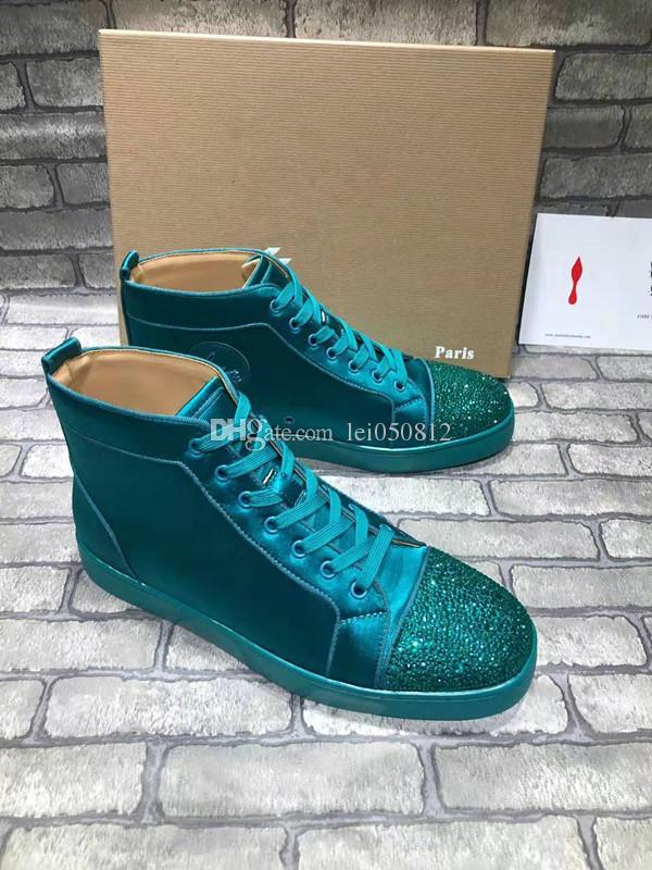Дешевые Известные Высокого верха Красные Нижние Кроссовки Для мужчин женские Зеленые Пятна Кожаные Кроссовки Блестящие Повседневная Обувь С Мешком Пыли Коробки