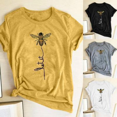 Nuevo estilo de las camisetas de las mujeres 2020 nueva llegada abeja camisetas de manga corta impresa ocasional femenina de color sólido flojo tes de las tapas 24 colores