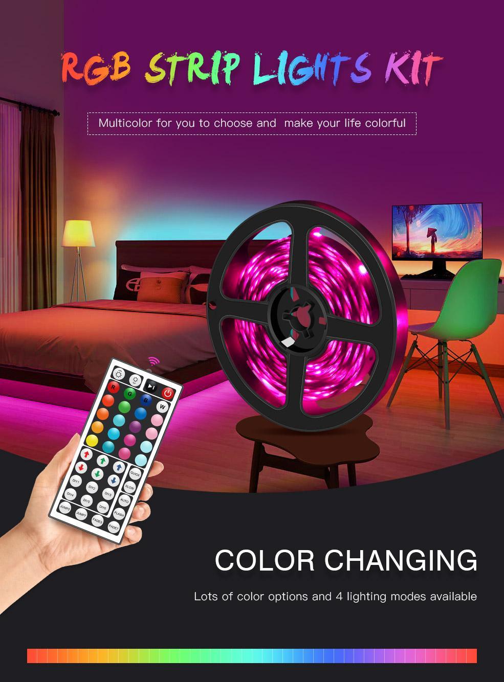 LED Bant Şerit Işıkları RGB 16.4FT / 5 M SMD 5050 DC12V Esnek Les Şeritler Işıklar 50Led / Metre 16 Sonfferent Statik Renkler