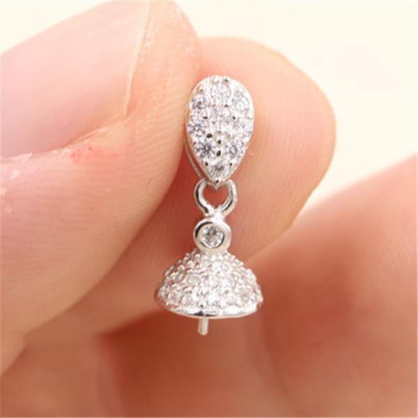 Chic Goutte pendentif perle collier de fixation Réglage de base 100% Argent massif 925 sterling semi bijoux bricolage de montage femmes résultats DZ029