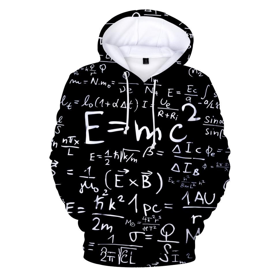Aikooki E = MC2 весело 3D толстовки кофты Мужчины / Женщины печать черный дизайн 3D толстовки E = MC2 с капюшоном мужские моды пуловеры XXS-4XL
