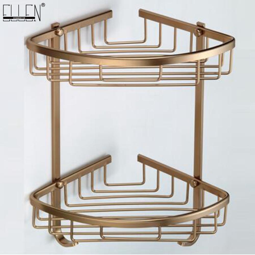 Banheira de canto prateleira Antique Bronze chuveiro do banheiro prateleira prateleiras Shampoo titular rack de armazenamento de Banho Basket EF2301 Titular