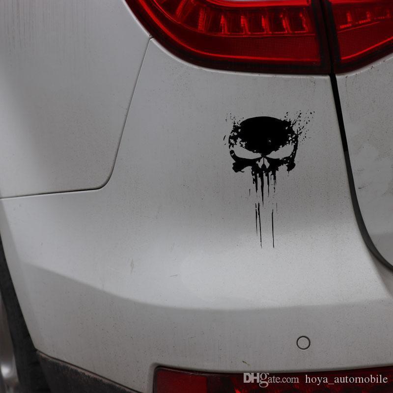 10CMX15CM PUNISHER Kafatası KAN Vinil Araç Çıkartmaları Sticker Motosiklet Dekorasyon Siyah ve Beyaz