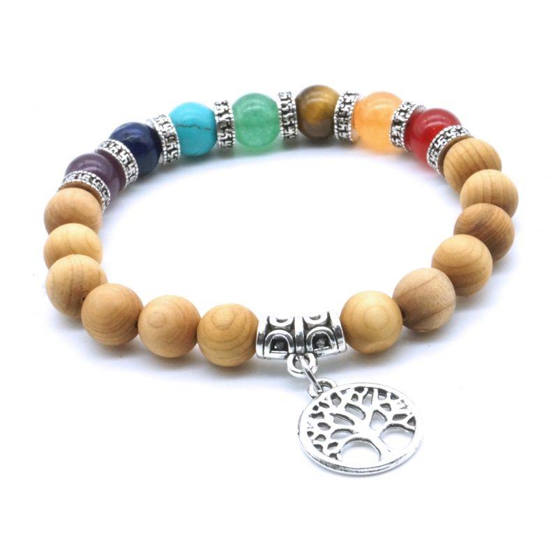 Hollow Tree of Life 7 Chakras Stone Wooden Beads Aromatherapy Essential Oil Diffuser Bracelet Yoga Energy Women Men Jewelry
