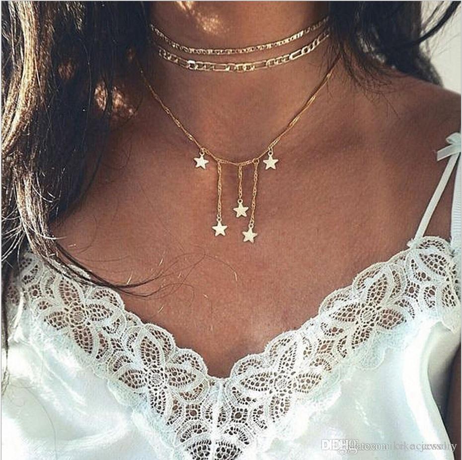 2019 moda multi camadas Colar Figaro cadeia gargantilha cinco estrelas pingente de ouro banhado a corrente de metal mulher colar de sexo
