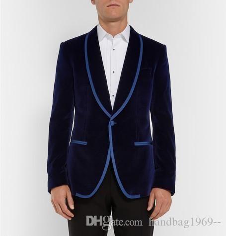 New Arrivals One Button Dark Blue Velvet Groom Tuxedos Shawl Lapel Groomsmen Best Man Blazer Mens Wedding Suits (Jacket+Pants+Tie) D:71