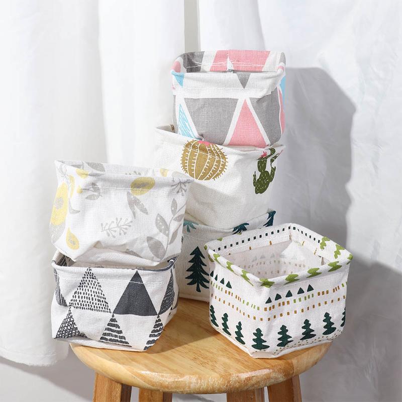 Foldable Sundries Storage Basket Cute Printing Cosmetics Container Multifunction Cotton Linen Storage Basket Desktop Organizer