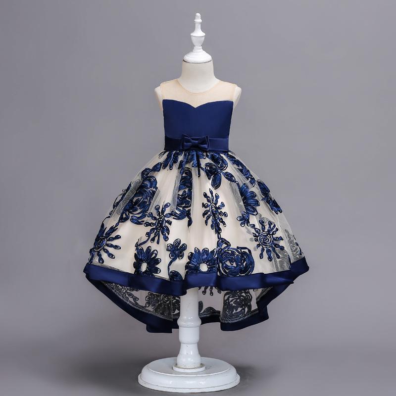 Royal Blue Flower Girl Dresses Salut-lo Princesse Party Pageant Tulle Robes vente chaude manches robe fille couleur rouge rose vert Livraison gratuite