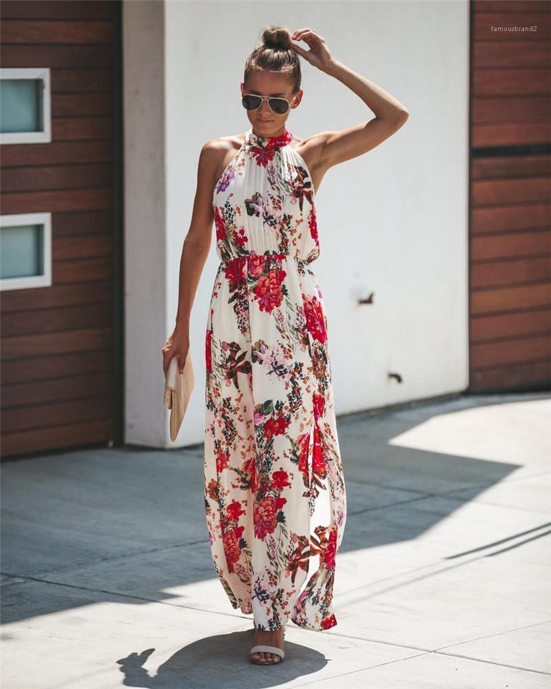 Kadınlar Giyim Çiçek Baskı Tasarımcı Bohemian Bayan Elbise Halter Fahion Doğal Renk Elbise Günlük Kolsuz Elbiseler