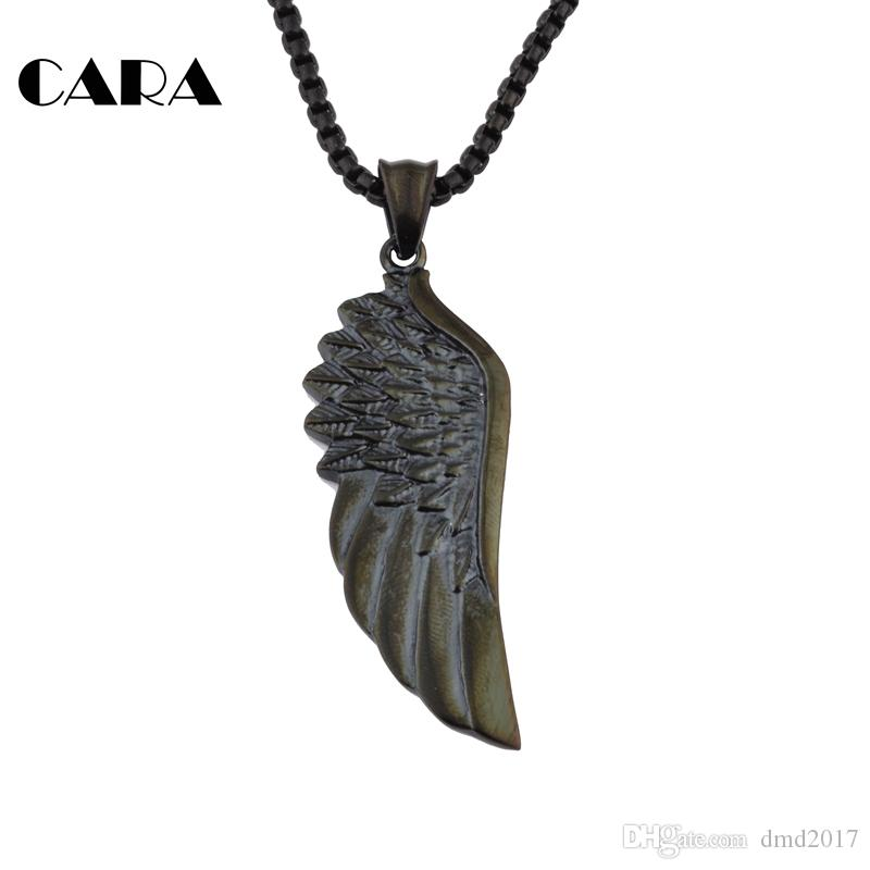 Fashion Single Angle Wing Necklace Pendant hip hop Necklace Black Paint 316L Stainless Steel feather Angle wing for men CAGF0044