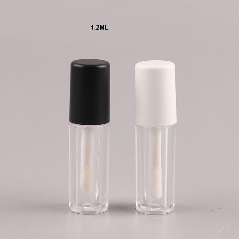 1.2ML البسيطة إفراغ ملمع الشفاه الحاويات زجاجة حاوية مستحضرات التجميل أنبوب سدادات المطاط لعينات الشفاه السفر سبليت الأسود
