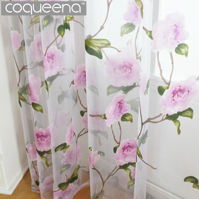Pembe Çiçekler Desen Salon Yatak odası Mutfak Kapı Pencere Ülke Style için dekoratif Şeffaf Voile Tül Perde, 1 ADET