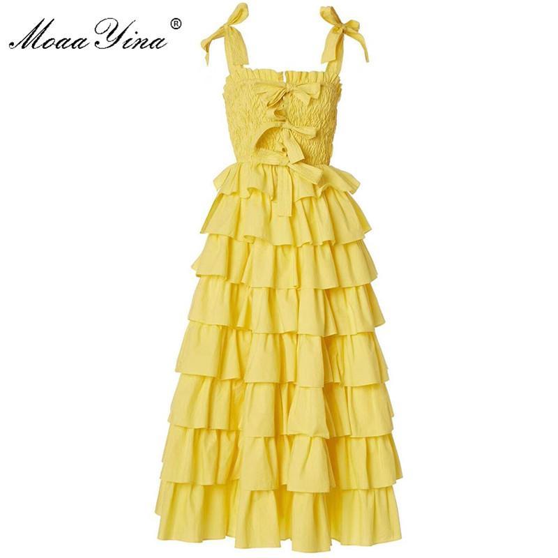 MoaaYina Yeni Kadınlar Tatil Elbise Basamaklı fırfır Lady midi elbise gelmesi