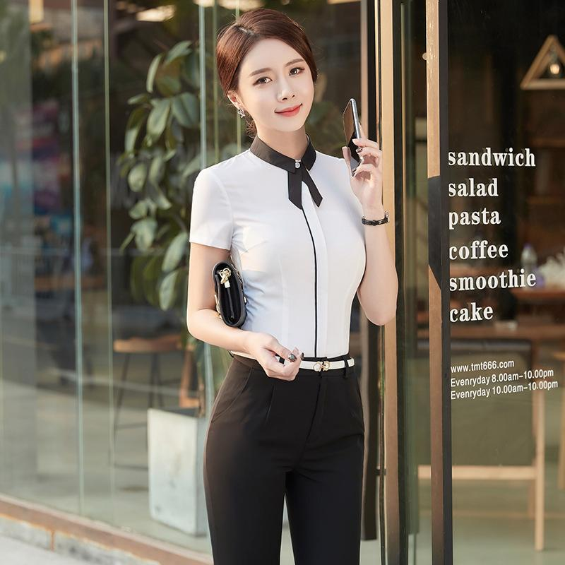 Suit-dress Small Lapel Shirt Woman Short Sleeve All-match Hit Color Lead Inch Clothes Ol Temperament Occupation Dress