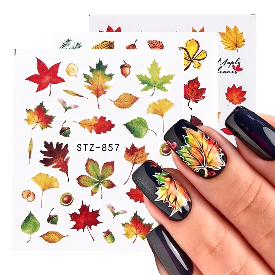 Automne Feuilles Nail Art Stickers Gold Jaune Maple Feuille Érachée Sliders Feuille d'automne Pour manucure à ongles