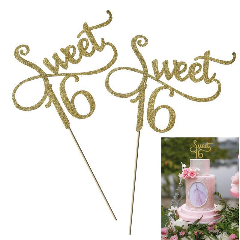 2pcs Gold Monogram Sweet 16 Cake Topper 16th Birthday Cake Topper for Sweet 16 Party Themes Decoration Supplies